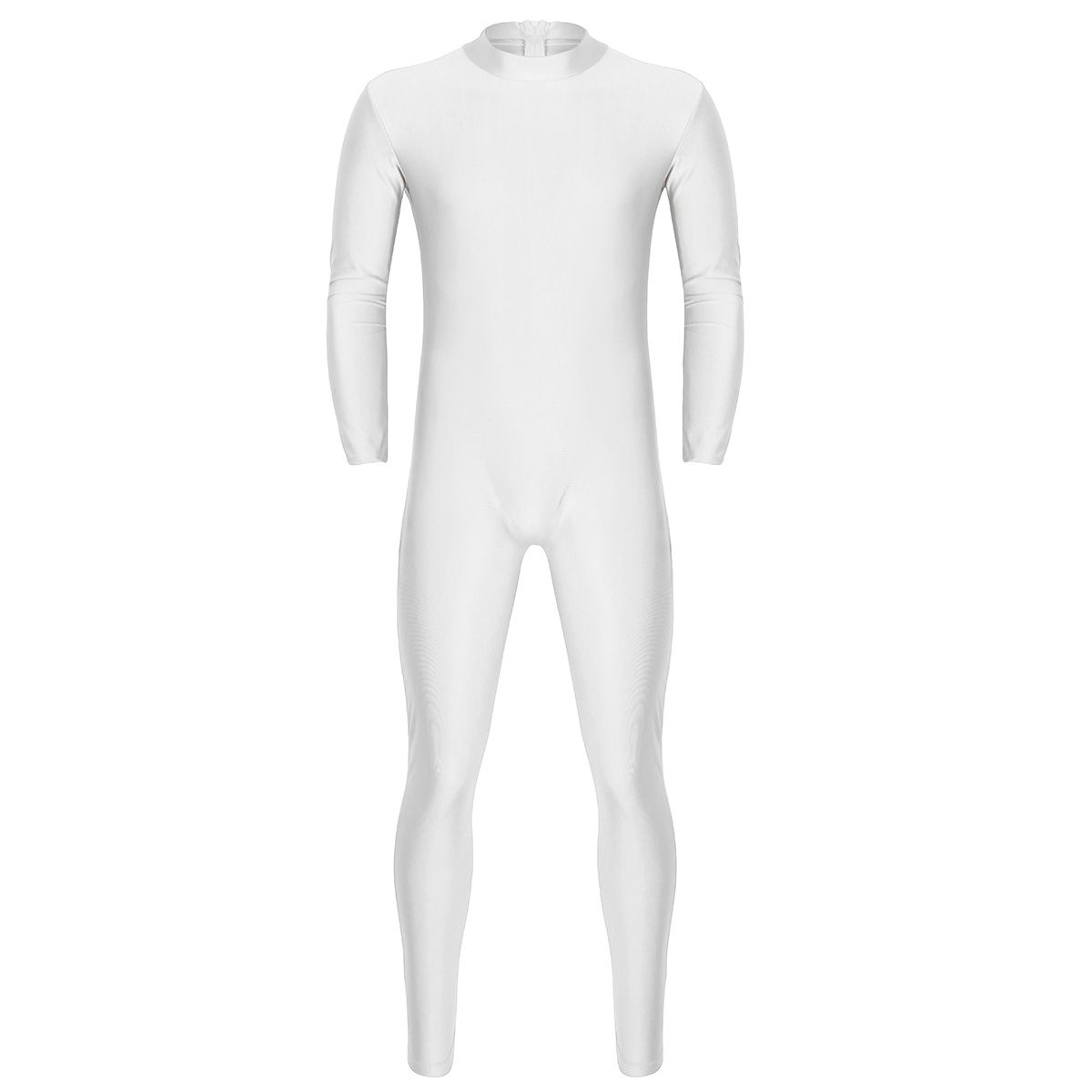 Mens Well Fit One Piece Leotards Long Sleeves Skinny Full-body Catsuit Adult Lycra Dancewear Bodysuit Gymnastics Workout Unitard 24