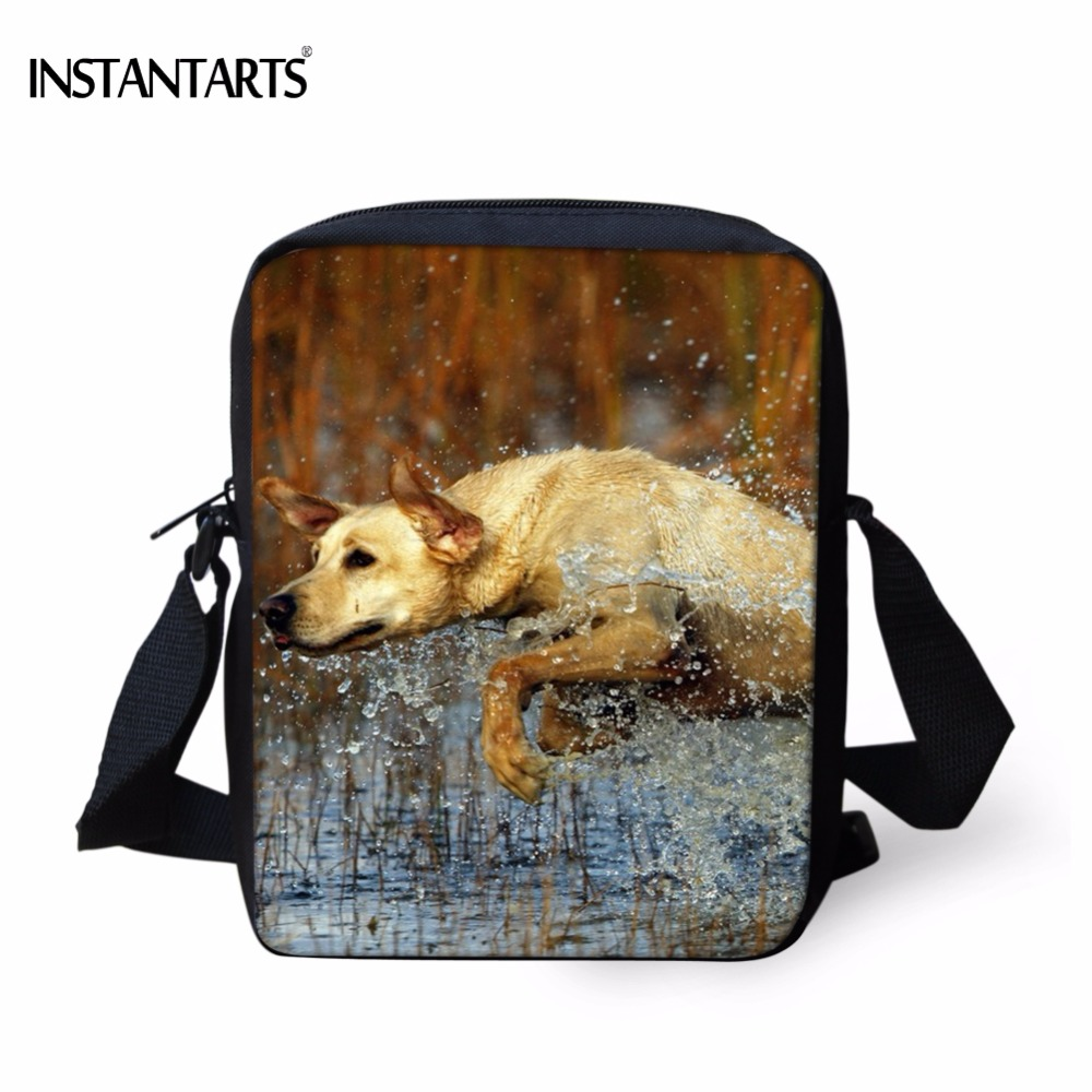 INSTANTARTS Funny 3D Animal Dog Greyhound Printing Men Mini Crossbody Bags Fashion Boys Handbags Brand Designer Messenger Bag