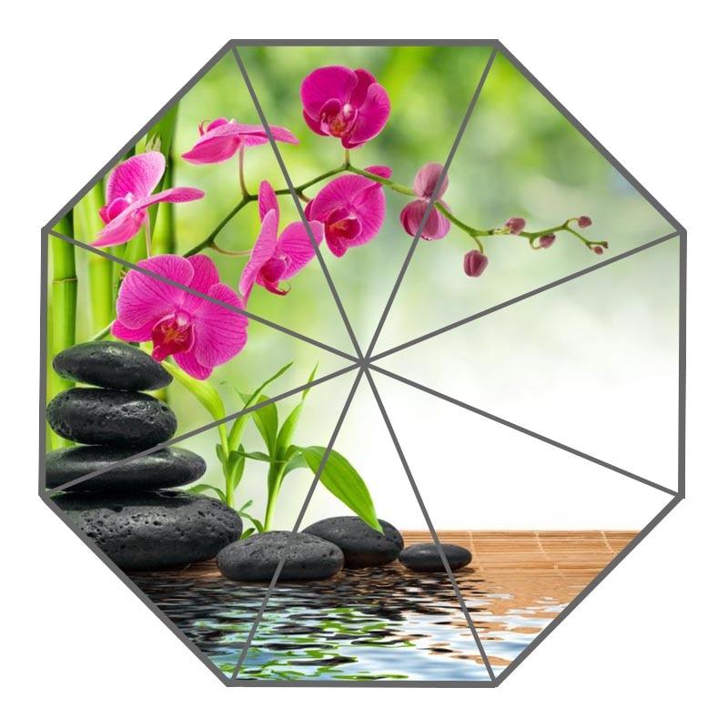 US $17 27 28% OFF Nice Spa Stones Flower Orchid Umbrella Custom Sunny and  Rainy Umbrella Design Portable Fashion Stylish Umbrellas Good Gift-in