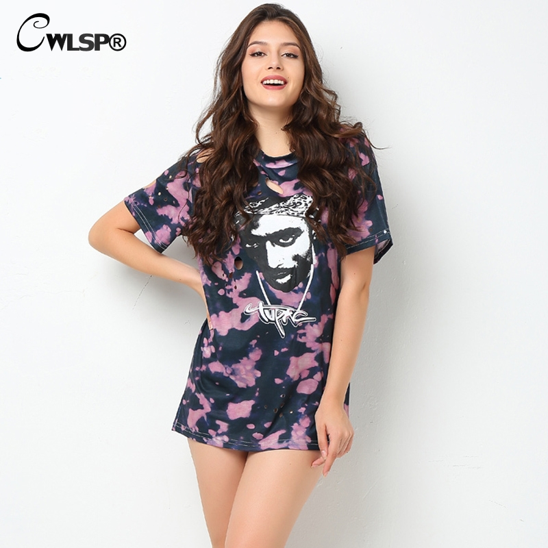 CWLSP 2017 Rock Summer Tshirt Femmes Sexy Trous Déchiré Tupac Femmes Longue Top T-shirts T-shirt Polaires De Mujer QA1555 Comme Le Rasgar uma camiseta feminina