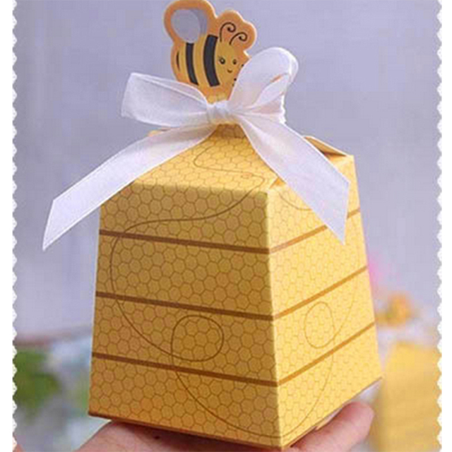 100 Pcs European Yellow Bee Style Favors Candy Boxes Gift Box With White Ribbons Baby Shower Birthday Party Wedding Supplies