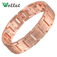 Wollet 2017 Health Jewelry Red Copper Magnetic Bracelet For Men 2 Row Magnet Healthy Bio Energy