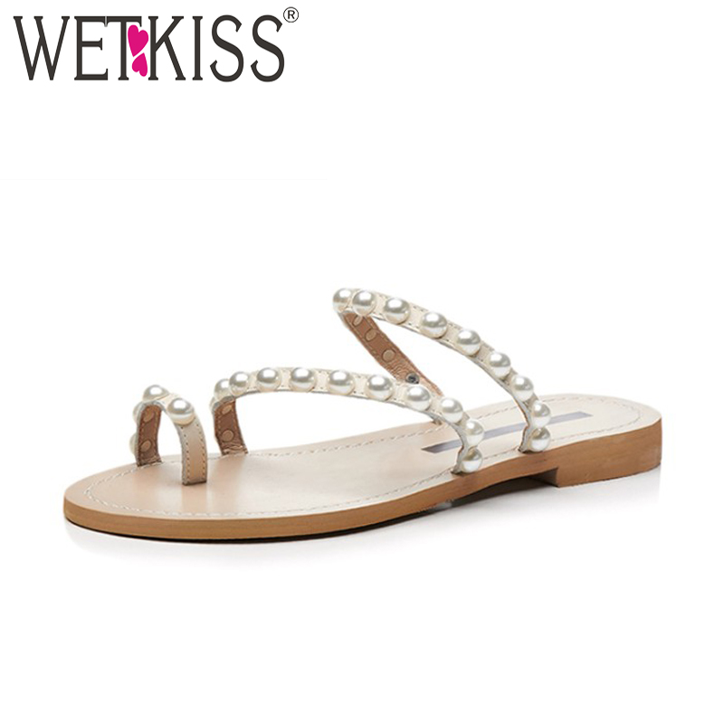WETKISS Super Big Size 47 New Summer Women Pearl Slippers Flat Sole Slides Shoes Leather Footwear 2018 Fashion Casual Girl Shoes women s shoes 2017 summer new fashion footwear women s air network flat shoes breathable comfortable casual shoes jdt103