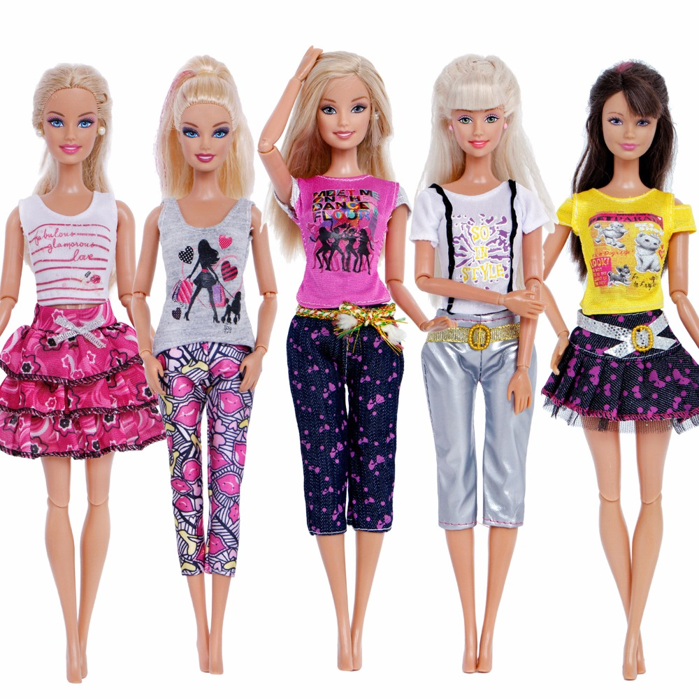 5 Sets Hangmade Different Style Outfits Mini Dress Fashion Pants Skirts Clothes For Barbie Doll Accessories Baby Girl Toy Gifts fashion 7 sets clothes outfits suitable for 18 american girl doll colorful tops pants with hat dress pajamas christmas gift