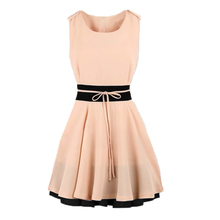 Women Chiffon Dress High Street Contrast Waist Color Block O Neck Sleeveless Slim Dress Pink Dark Blue Vestidos Femininos