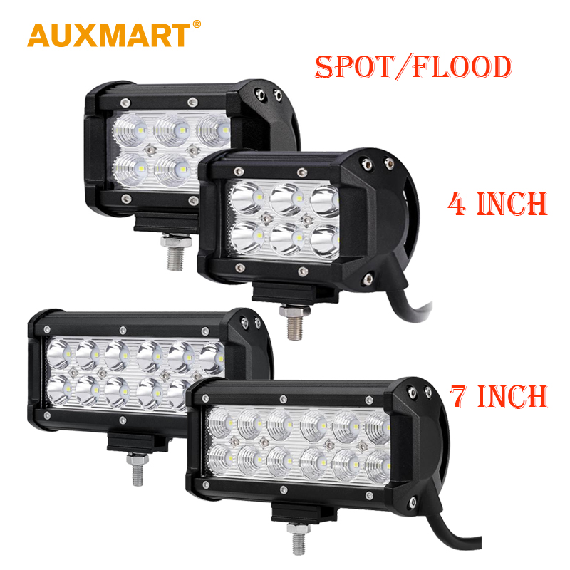 Auxmart 4/7inch 18W 36w LED Light Bar Offroad Spot flood Beam Work Light 4x4 4WD SUV ATV RZV Trailer Truck 12v 24v LED Bar auxmart spot beam flood beam 4inch 7 led work light offroad tractor truck 4x4 suv atv motorcycle headlight fog lamps 12v 24v