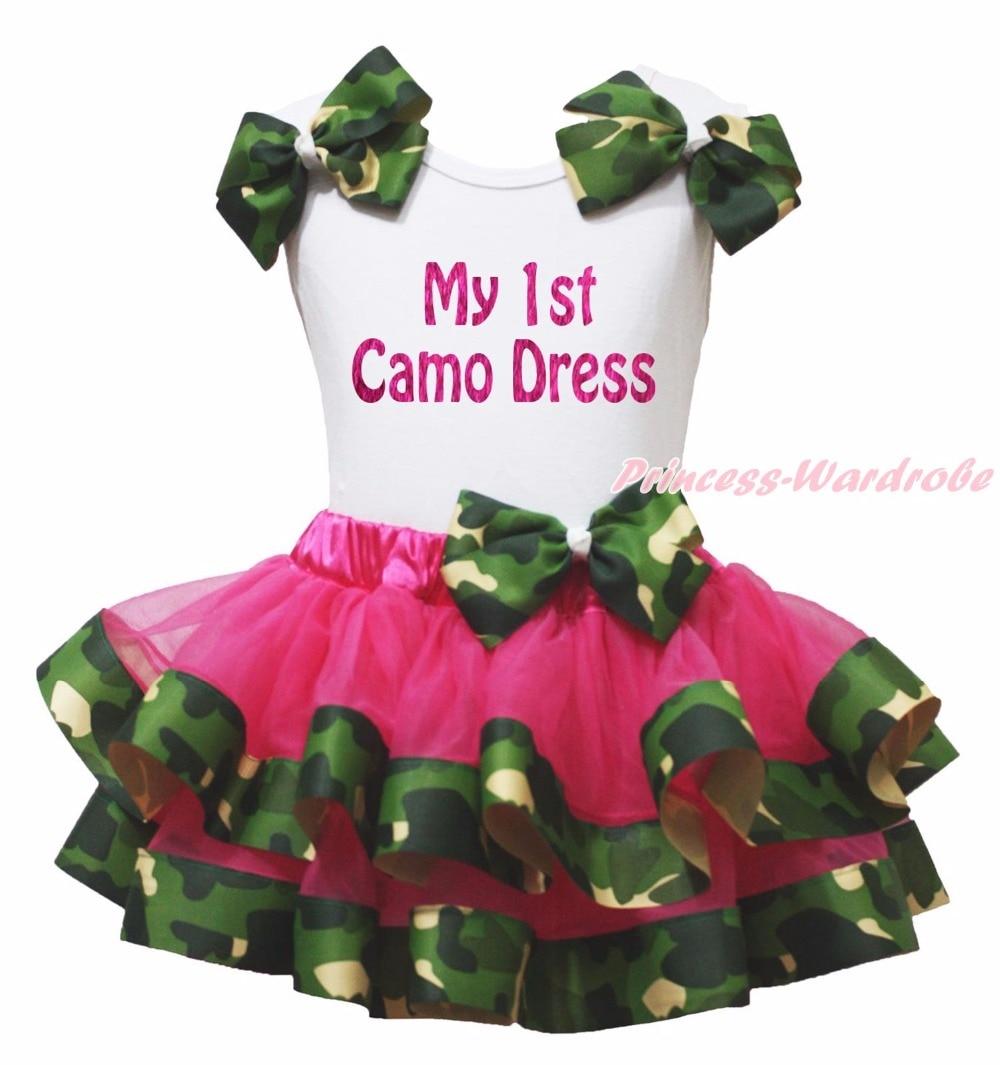 Bling My 1st Camo Dress White Top Shirt Camouflage Ribbon Trim Girl Pettiskirt Outfit Set NB-8Year hot pink top shirt camouflage lacing satin trim girl pettiskirt outfit set nb 8y mapsa0642