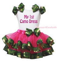 Bling My 1st Camo Dress White Top Shirt Camouflage Ribbon Trim Girl Pettiskirt Outfit Set NB-8Year