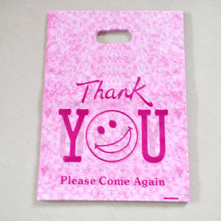 Whole Hot Pink Thank You Design Plastic Bag 25x35cm 50pcs Lot Ping Jewelry Packaging Gift Bags With Handle In Wring