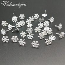 WISHMETYOU 50Pcs 10.5mm Curt Snowflakes Brads Decor Embellishment Scrapbooking White For Kids Diy Album Frame Brad Finding
