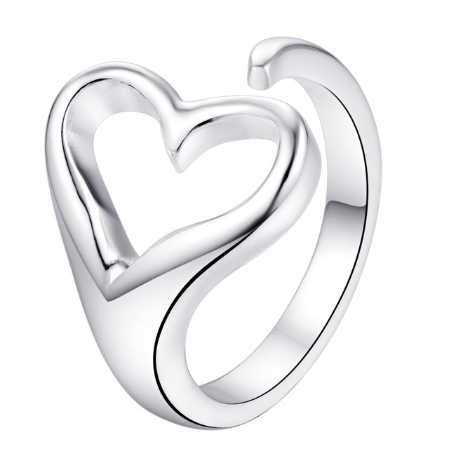 adjustable love heart Wholesale 925 jewelry silver plated ring ,fashion jewelry