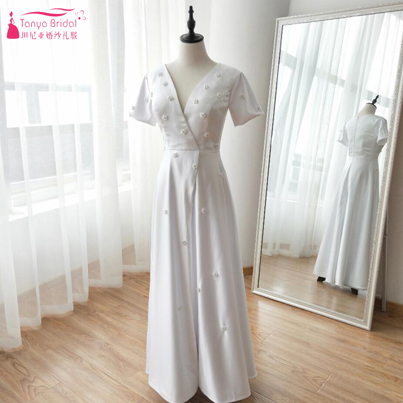 Fashion Song Hye Kyo Wedding Dresses Korea Simple Floor Length Bridal Gowns With Preals elegant Vestido De Casamento ZW038