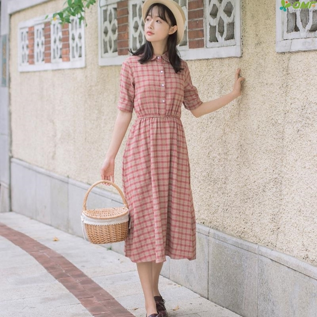 ecb70b5c5c1 Mori Girl Elegant Dresses Women Red Plaid Summer Dress Literature Vintage  Dress Preppy Style Casual Vestidos Fashion Large 2018