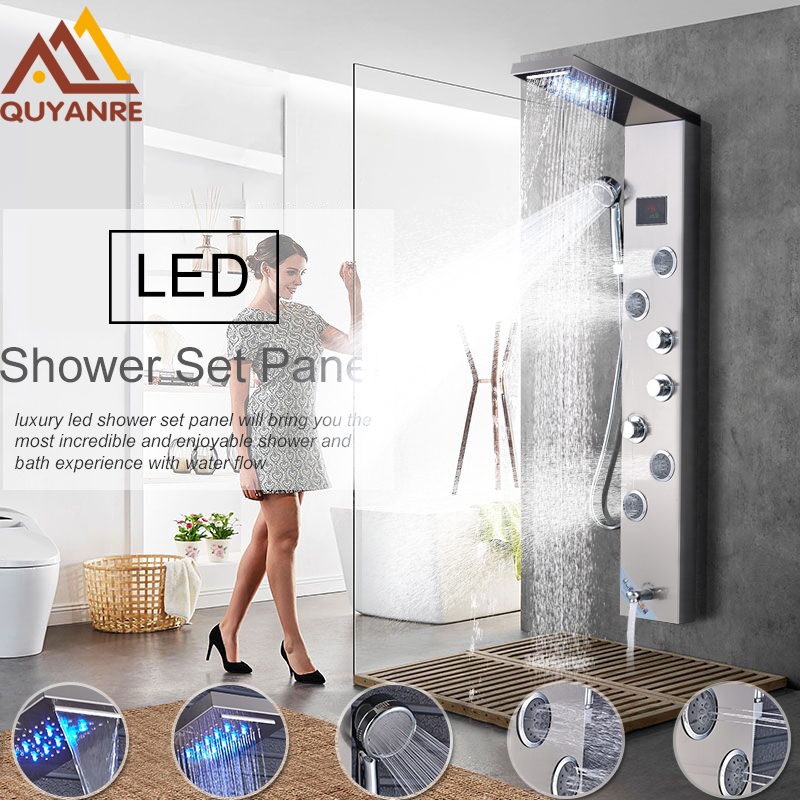 Luxury LED Rain Waterfall Shower Faucet Set Shower Panel Column 4 Multi-functional Nozzles Massage SPA Jet Temperature Screen