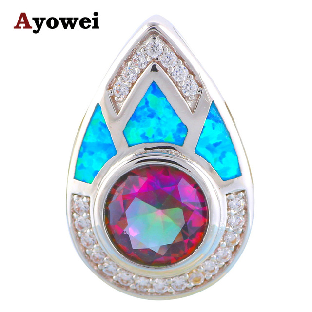 Amazing mystic crystal design blue fire opal silver stamped pendants amazing mystic crystal design blue fire opal silver stamped pendants aaa zirconia fashion jewelry for ladies mozeypictures