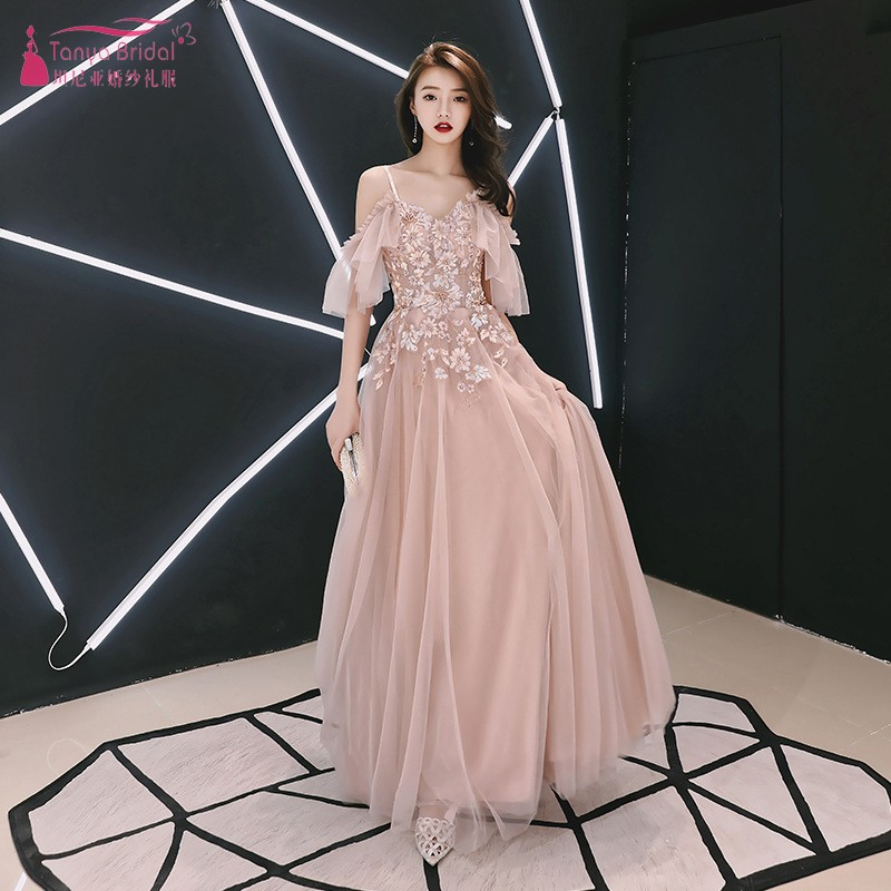 TANYA 2019 New Appliques   Prom     Dresses   Floor-Length A-Line V-Neck Simple Sexy Party Gown SS106