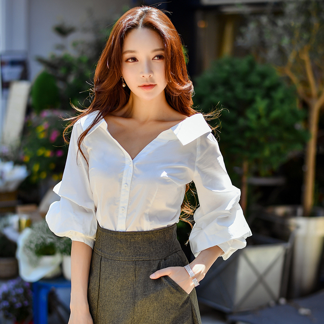 Dabuwawa Spring White Elegant office lady Work Shirts Women New Single Breasted Puff Sleeve Sexy Blouse Top D18CST046