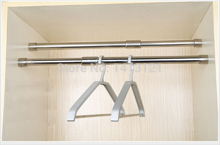 free shipping 59cm hanger furniture hardware Stainless steel pipe wardrobe rail bracket adjustable clothes rod with flange basefree shipping 59cm hanger furniture hardware Stainless steel pipe wardrobe rail bracket adjustable clothes rod with flange base