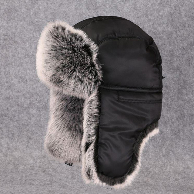 610aaad076ef0 Winter Men Ushanka Fluffy Faux Fur Russian Hats Bomber Trapper Hat Warm  Earflap Snow Ski Caps Vintage Trooper Pilot Avaitor Caps