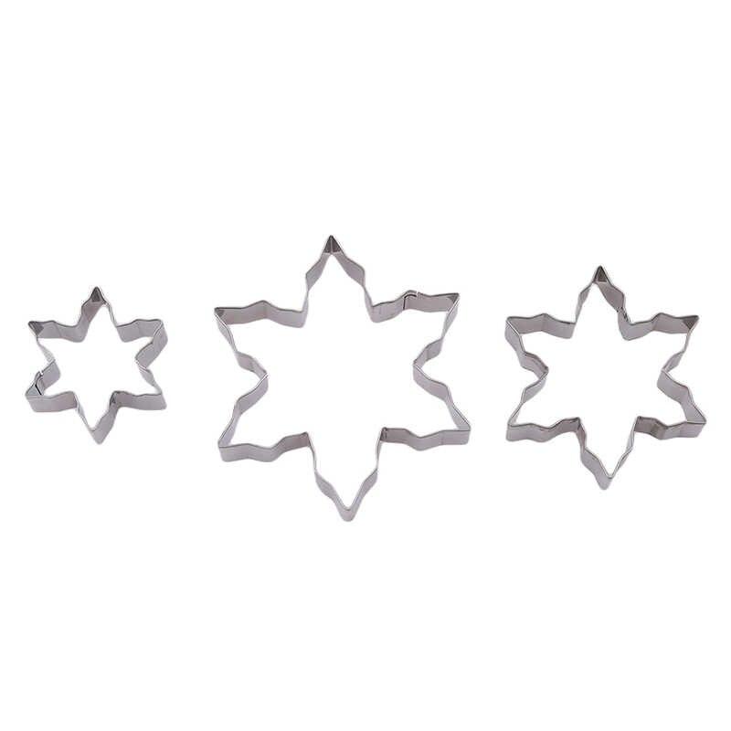 3 قطعة/المجموعة عيد الميلاد ندفة الثلج شكل كوكي غير القابل للصدأ قالب فولاذي شكل الثلج قوالب لصناعة البسكويت لتقوم بها بنفسك فندان كعكة بالشيكولاتة قالب الديكور