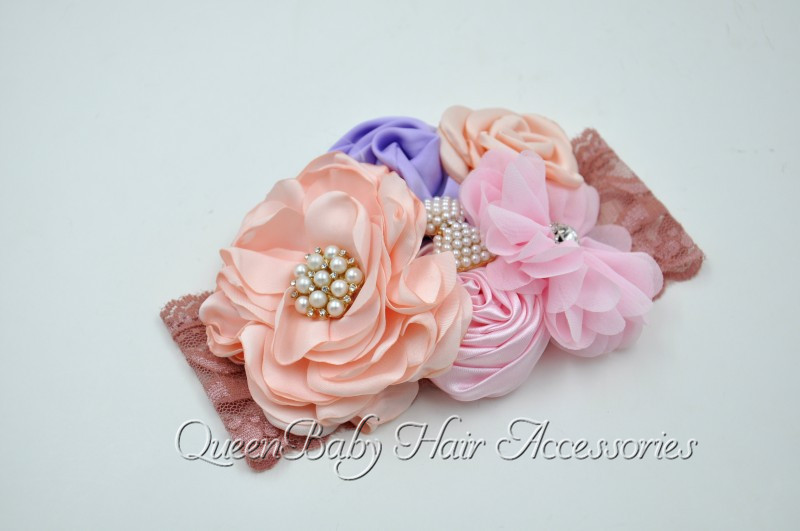 12pcs lot Satin Flower Hair Band Couture Baby Headband Flowergirl Hair  Accessory -in Hair Accessories from Mother   Kids on Aliexpress.com  37926254a5e