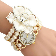 2016 New Personalized Flowers Pearl Wrapped Bracelet Watch Ladies Fashion Students Watch Wholesale Free Shipping