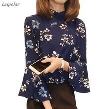 Floral Print Women Chiffon Blouse Summer Three Quarter Flare Sleeve Casual Shirts Plus Size Female Elegant Loose O-Neck Tops