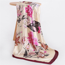 Summer Satin Scarf Women Silk Square Neck Scarfs Floral Print Luxury Brand Scarves for Ladies Bandana Shawls 2019 New недорого