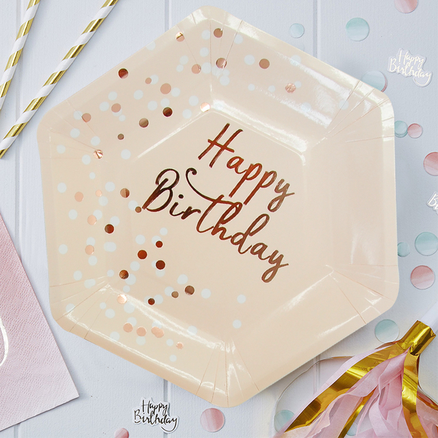 1Set Pink Series Happy Birthday Disposable Tableware Gilding Paper Straws/Napkin/Cup/Plate For Kids Birthday Party Decoration