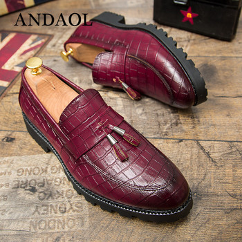 ANDAOL Leather Casual Shoes Men Fashion Genuine Loafers New Luxury Dress Party Comfortable Round Toe Slip On shoes