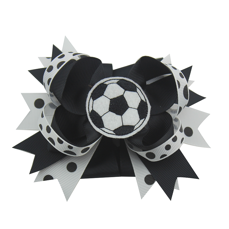 High Quality 10pcs 6 inches football sports hair bowsWith Hair Clips 100% Ribbon Bows Hairpin Headwear Kids Hair  Accessories halloween party zombie skull skeleton hand bone claw hairpin punk hair clip for women girl hair accessories headwear 1 pcs