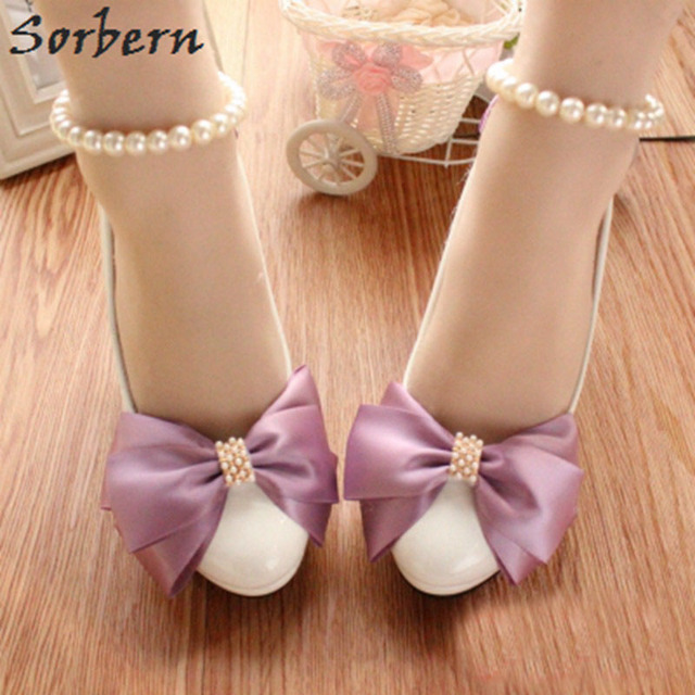Sorbern Citron Purple Bow Wedding Shoes Platform Shoes For Bridesmaid Girls  Bridal Shoes Ladies Heels Cheap Womens Heels White 731f3fda3c7b