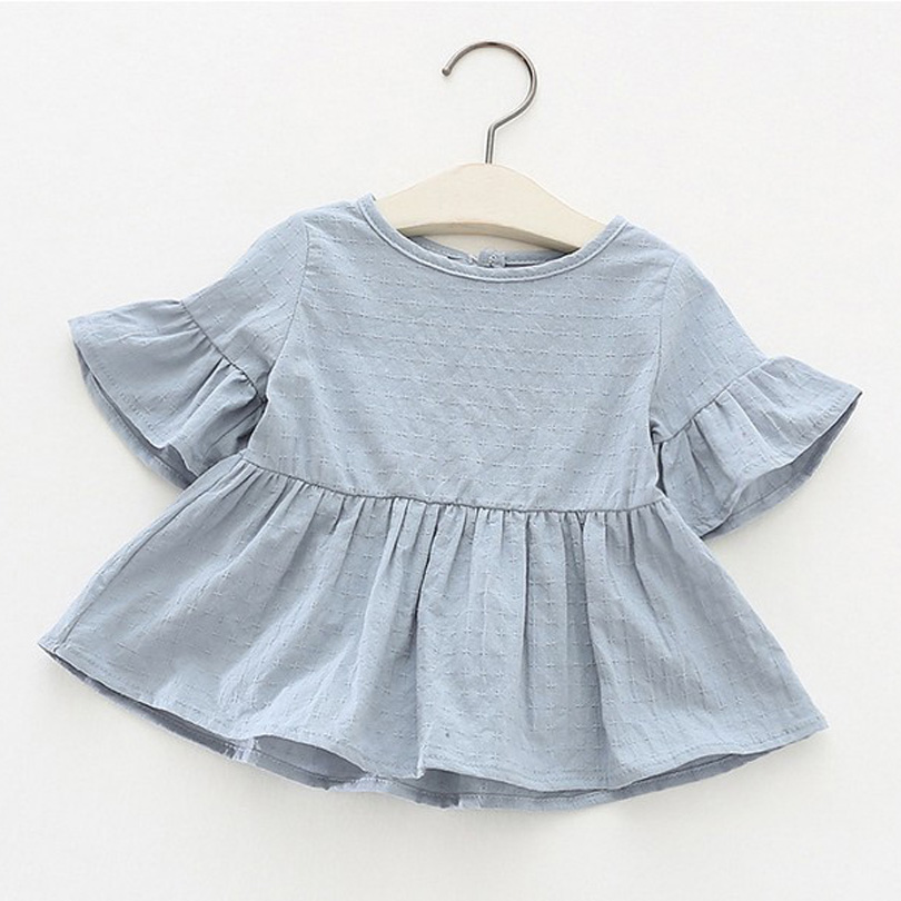 все цены на Baby Kids Girls Retro Blouse Flare Sleeve O-neck Tops Shirt Party Ruffles Blouses Cotton Tops New Summer Cute Loose Toddler 0-4Y