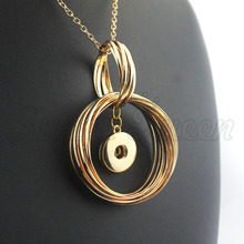 Necklace Jewelry Christmas-18mm Statement Gift Gold Women's Metal NE484 8-Cm Snap-Button