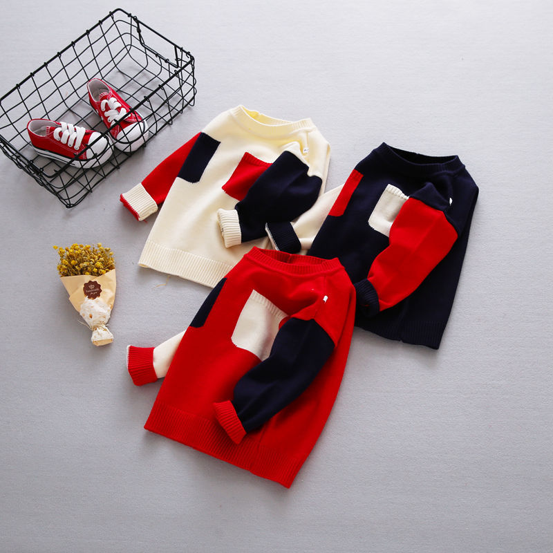 New-Autumn-Girls-Boys-Kids-Baby-Infants-Long-Sleeve-Block-Color-Outwear-Pullover-Knitwear-Kintting-Sweater-Camisola-Tops-MT1277-2