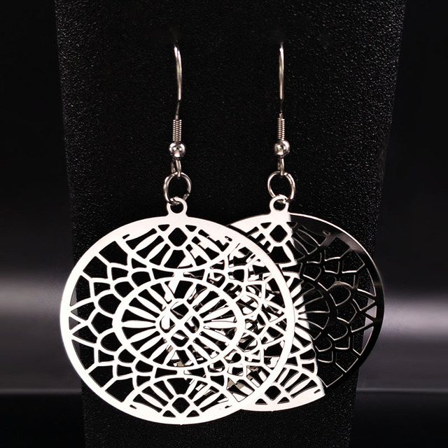 2018 Round Stainless Steel Drop Earrings For Women Mandala Silver Color Ethnic Jewelry Penntes
