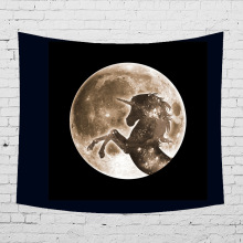 Moon Shadow Series Tapestry Wall Hanging Mermaid Wolf Unicorn Printed Mandala Home Decor Beach Towel Cloth Carpet