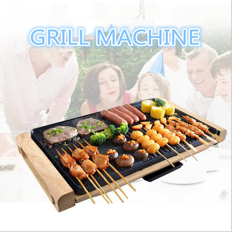 220V/2000W Multifunctional Electric Barbecue Grill Machine Non-stick Teppanyaki Grill Pan BBQ Griddle For Outdoor Family Party two premium bbq mats the only non slip never stick no mess dishwasher safe grill sheet you ll ever need perfect for cooking baking and for the barbecue 100% satisfaction guaranteed grillite bbq mats