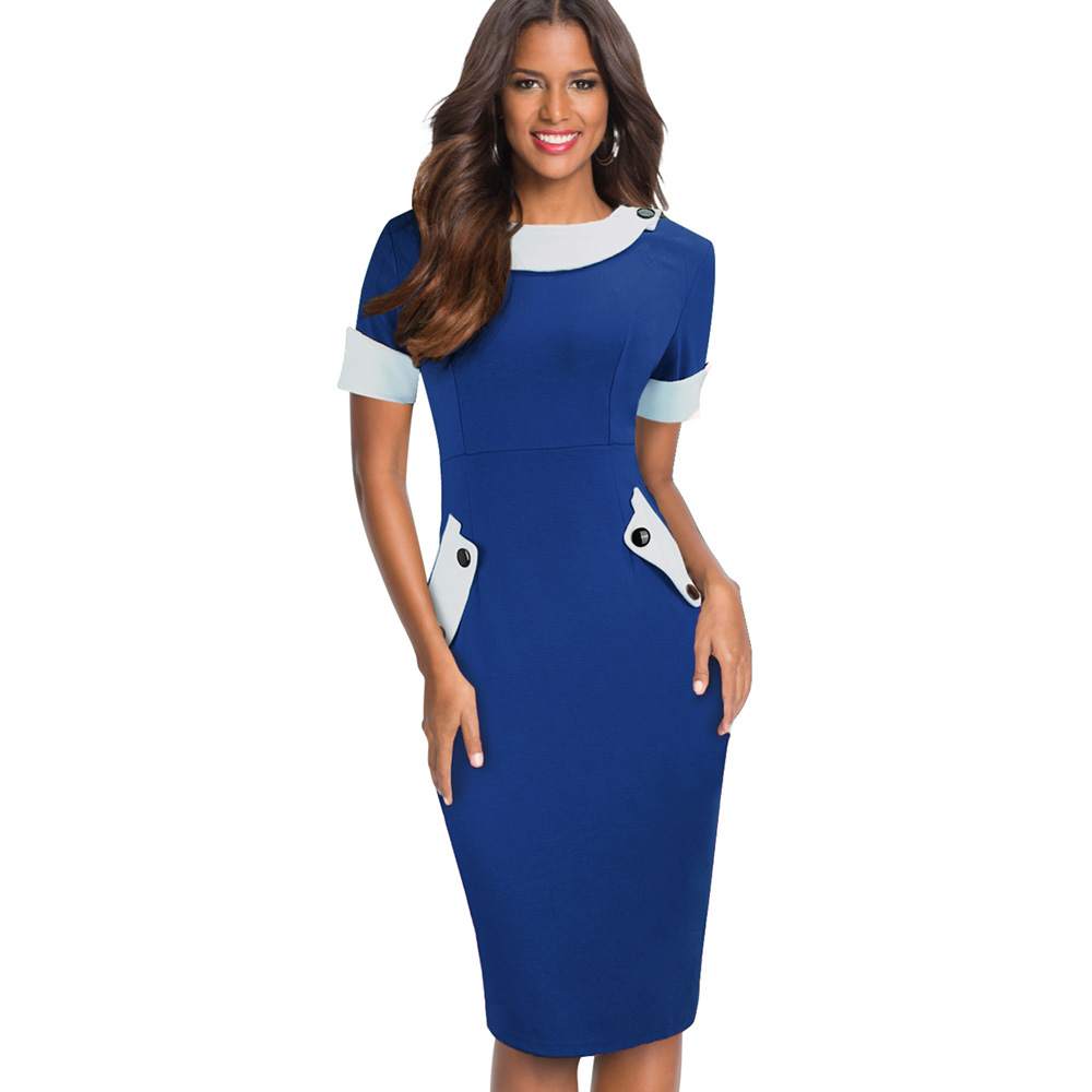 US $13.59 15% OFF|Nice forever Ladies Office elegant Women Tunic Plus Size  Work Dress button Short Sleeve Bodycon Business Pencil Midi Dress 832-in ...