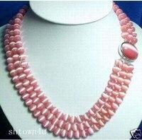 Reale dei monili delle donne dubai turco all'ingrosso collane di Fascino RARI 3 FILE 8 MM ROSA OPALE COLLANA di PERLINE reale perle naturali