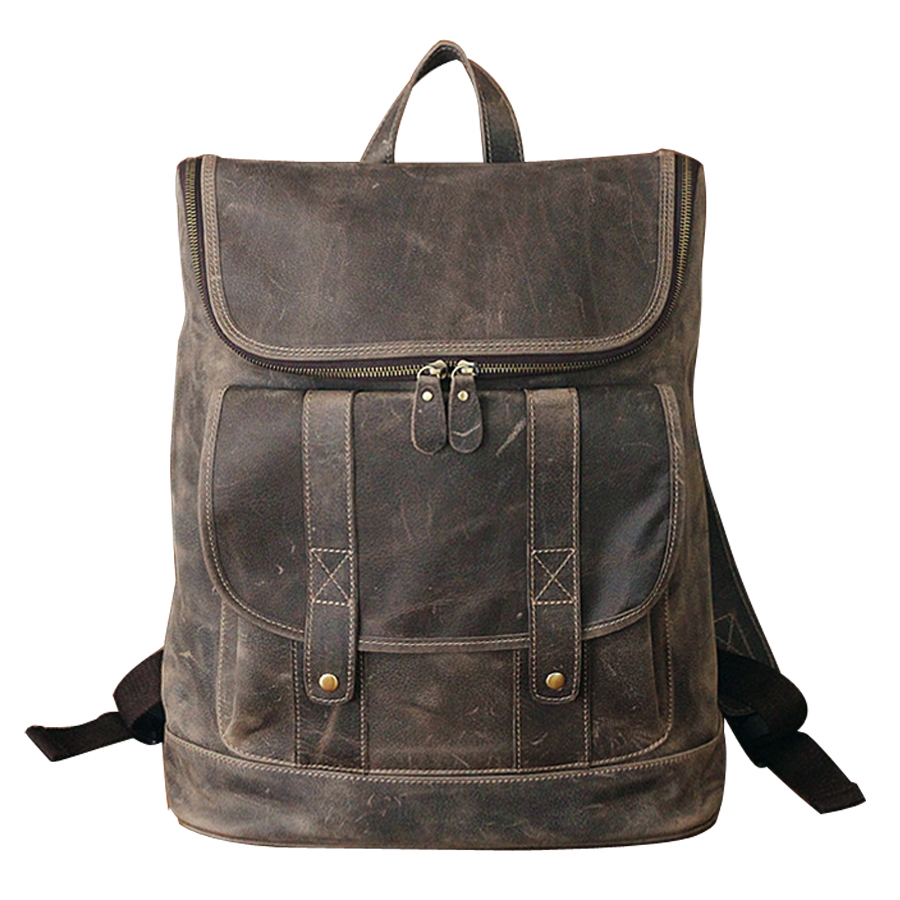 Europe and the retro style men and women backpack genuine leather knapsack casual travel bag schoolbag packsack men bags