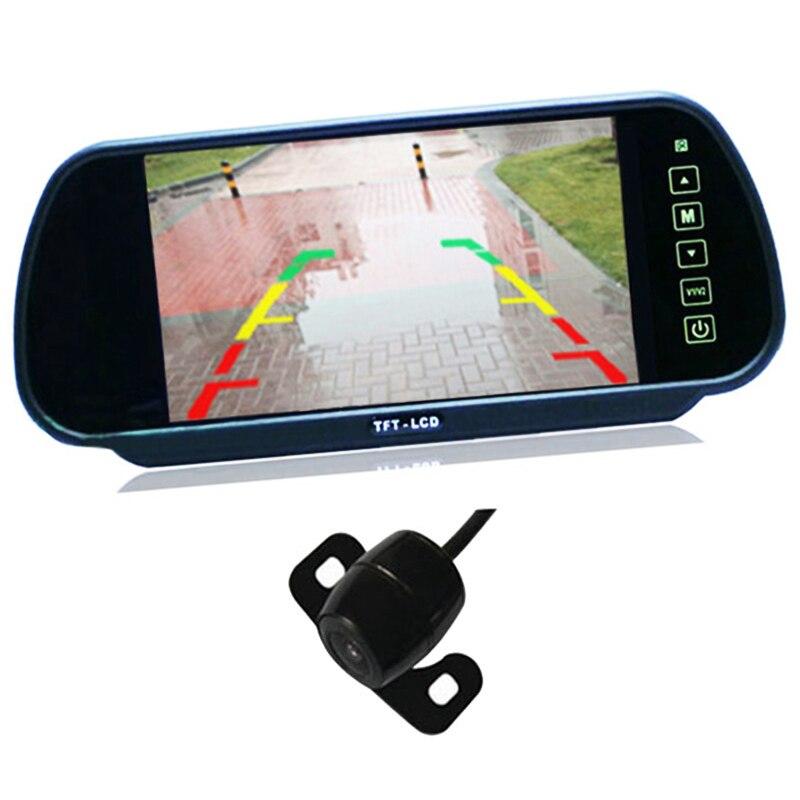 2 en 1 Auto Parktronic Kits 7 pouces TFT LCD voiture rétroviseur moniteur avec HD voiture vue arrière caméra de recul de stationnement