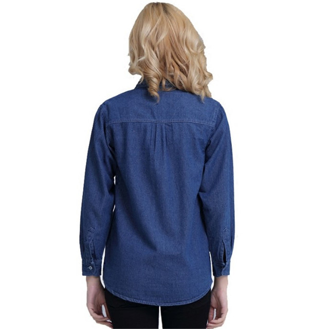 Plus Size Denim Shirt Women Thin Summer Pockets Casual Long Sleeve Jeans Blouse Button Solid Cotton Blusa Bluzki Damskie Ds50601 3