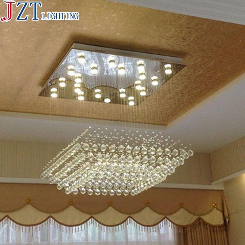 M High-Grade K9 Crystal Pendant Lamp Led GU10 Light Rectangular Living Room Hotel Lobby Lamp Modern Concise Engineering Light