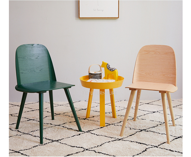 Minimalist Modern Design Classic Plastic Solid Wooden Dining Chair