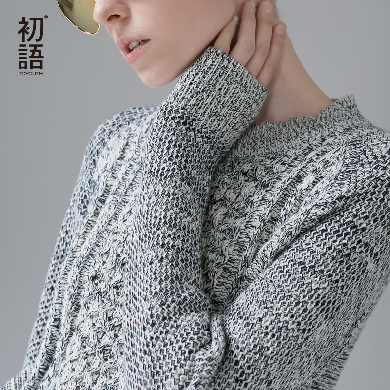 Toyouth Knitted Sweater Women Brand Grey Crew Neck Troict Long Sleeve Pullovers Knitwear Autumn Winter 2018 Jumper pull femme rugod 2018 new knitted winter dress women pullovers fashion sweet solid o neck long sleeves pull femme christmas sweater dress