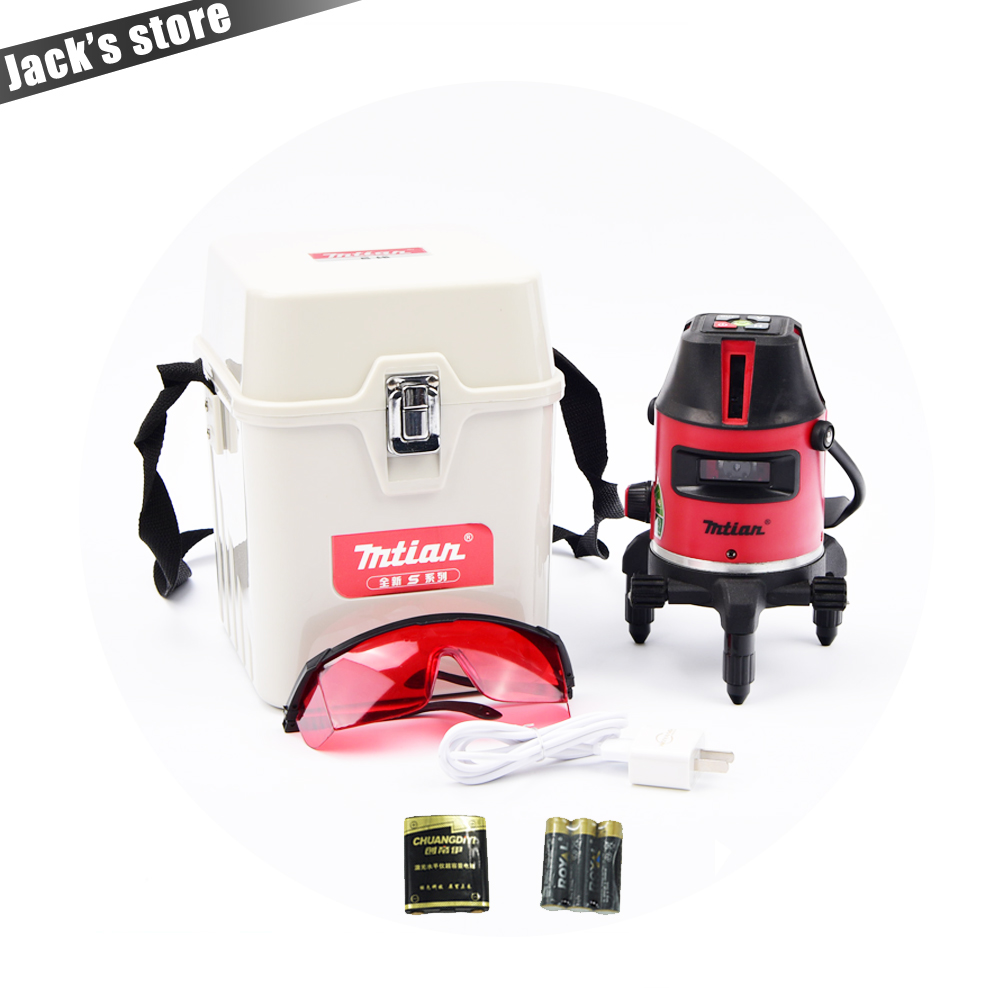 Only Russia! 2017 New model (with lithium batteries),10X-light 5 lines 6 points laser level 360 rotary cross laser line leveling