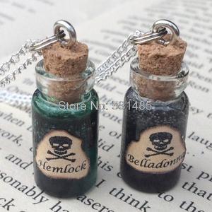 Image 1 - 12 pçs/lote Cicuta, Belladonna Veneno Garrafa Colar de Pingente de jóias de prata do tom