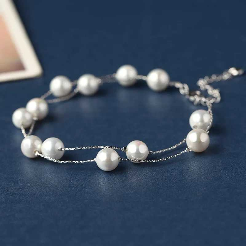 SINLEERY Elegant White Pearl Bracelet 2 Layer Link Chain Bracelet Rose Gold Silver Color Bridal Wedding Jewelry Sl061 SSH