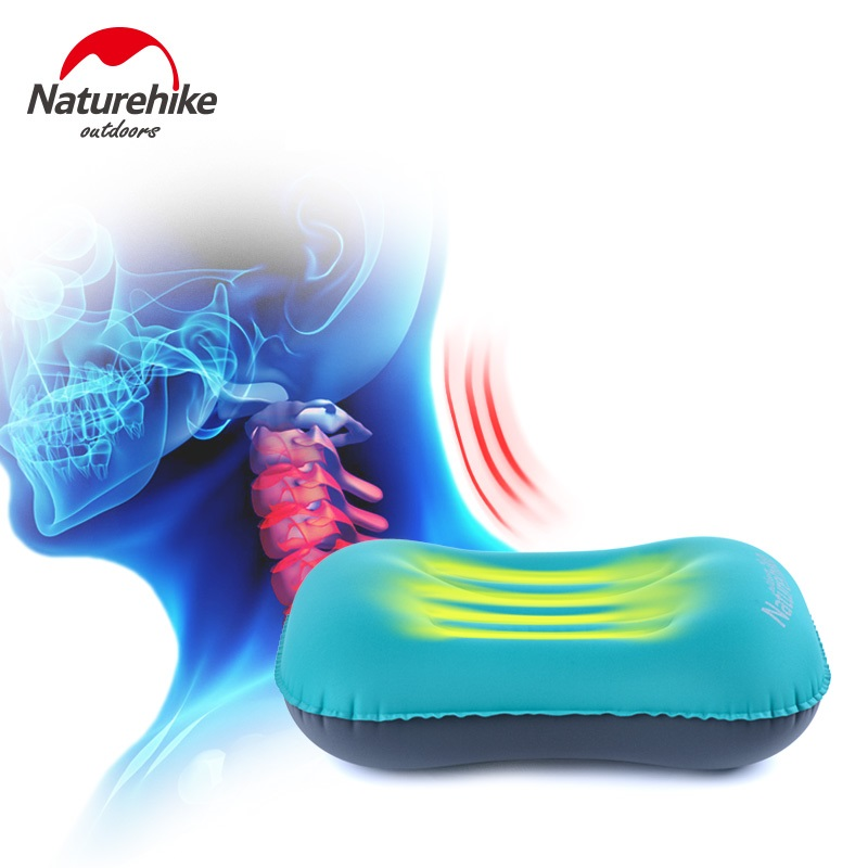 Brand NatureHike Portable Outdoor Inflatable Pillow Sleeping Travel blow aeros Cushion Soft Neck Protective